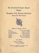 "[""<p> Print copies of digital scans of pamphlet.  Includes the Chapter's program schedule for 1918-1919.  ""Officers of Chapter, 1918-19, Regent, Mrs. George C. Baker, Vice Regent, Mrs. H. C. Bowlby, Recording Secretary, Mrs. R. A. Lough, Corresponding Secretary, Miss Clara Hough, Treasurer, Mrs. C.B. Dille, Registrar, Mrs. T. R. Winsheimer, Historian, Mrs. R. H. Edmondson, Chaplain, Miss Lily B. Hagans"".  ""Local board: Mrs. F. B. Trotter, Mrs. A. R. Whitehill, Mrs. S. E. Treat.  Members are urged to bring knitting or other war work to all meetings.""</p>""]"