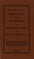 "[""<p> Pamphlet. ""Adopted by the State Executive Committee at a Meeting Held at Clarksburg August 8, 1936 and Amended at a Meeting of the Committee Held in Huntington August 8, 1940.""</p>""]"