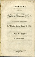 "[""<p> Pamphlet. Address to the Jefferson Union League of Berkeley County, [West] Virginia at the presentation of the United States flag to the citizens of Martinsburg.<br /> <br />  </p>""]"