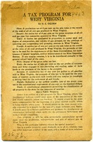 "[""<p> Pamphlet. A proposal for a tax program which would ""return to the state some compensation for the depletion of a great natural wealth"", focusing on the natural gas industry.<br /> <br />  </p>""]"