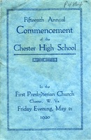"[""Event program. \""In the First Presbyterian Church, Chester, W.Va., Friday evening, May 21, 1920.\"" ""]"
